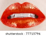 macro of woman's lips with... | Shutterstock . vector #77715796