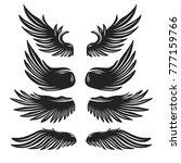 set of black vector wings for... | Shutterstock .eps vector #777159766