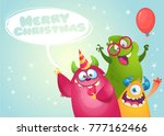 vector christmas card with cute ... | Shutterstock .eps vector #777162466