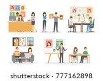 editorial office interior set.... | Shutterstock .eps vector #777162898
