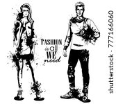 vector woman and man fashion | Shutterstock .eps vector #777166060