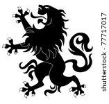 silhouette of standing heraldic ... | Shutterstock .eps vector #77717017