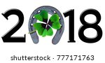 number 2018 with shamrock and... | Shutterstock . vector #777171763