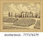 hand drawn landscape. antique... | Shutterstock .eps vector #777176179