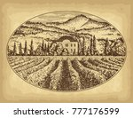 hand drawn landscape. antique... | Shutterstock .eps vector #777176599
