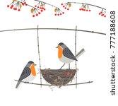 cute robin birds couple icon.... | Shutterstock .eps vector #777188608