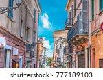 narrow street in la maddalena ... | Shutterstock . vector #777189103