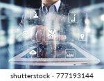 microchip  cpu  processor ... | Shutterstock . vector #777193144