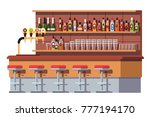 empty bar counter. bar beer tap ... | Shutterstock .eps vector #777194170
