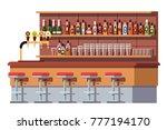 empty bar counter. bar beer tap ...
