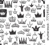 hand drawn various crowns set ...   Shutterstock .eps vector #777195154