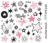 funny doodle stars and comets...   Shutterstock .eps vector #777195160