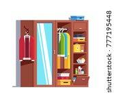 home dressing room wardrobe.... | Shutterstock .eps vector #777195448
