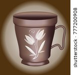nostalgic coffee cup with brown ... | Shutterstock .eps vector #777200908