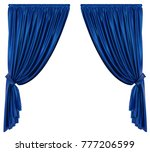 Blue Theatre Curtain Isolated....
