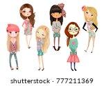 set with cartoon girls | Shutterstock . vector #777211369