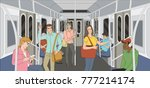 people in a metro train.... | Shutterstock .eps vector #777214174