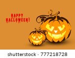 happy halloween. a card with... | Shutterstock . vector #777218728