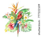 watercolor bouquet with... | Shutterstock . vector #777222109