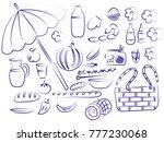 summer picnic doodle set.... | Shutterstock .eps vector #777230068