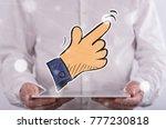 hand pointer concept above a... | Shutterstock . vector #777230818