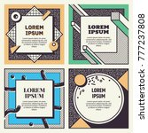 set of cool memphis style cards.... | Shutterstock .eps vector #777237808