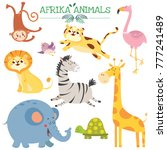 Stock vector set with cute afrikan animals jungle vector illustration 777241489