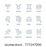set of outline zodiac symbol... | Shutterstock .eps vector #777247000