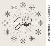 set of hand drawn snowflakes... | Shutterstock .eps vector #777255514