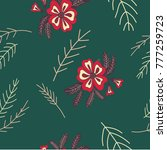 hand drawn seamless botanical...   Shutterstock .eps vector #777259723