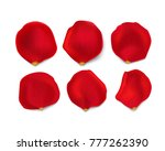 Stock vector set of bright red rose petals isolated on white background design elements for greeting cards 777262390
