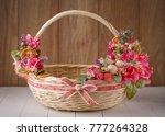 wicker designer basket...   Shutterstock . vector #777264328