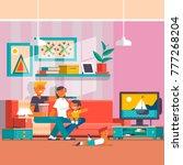 illustration of happy family...   Shutterstock . vector #777268204