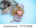 the girls playing with snow in... | Shutterstock . vector #777275068