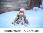 the girls playing with snow in... | Shutterstock . vector #777275080