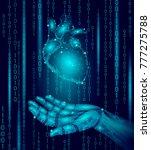 human heart robot android hand... | Shutterstock .eps vector #777275788