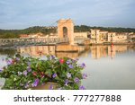 flowers on the sea wall and the ... | Shutterstock . vector #777277888