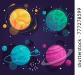 set of cartoon planets in space.... | Shutterstock .eps vector #777278599