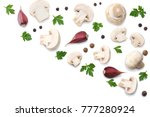 mushrooms with parsley isolated ... | Shutterstock . vector #777280924