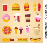 fast food vector nutrition... | Shutterstock .eps vector #777285328