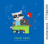 raccoon sitting at a desk with... | Shutterstock .eps vector #777286204