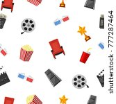 cinema icons seamless pattern... | Shutterstock .eps vector #777287464