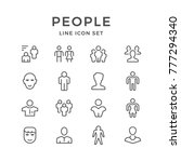 set line icons of people... | Shutterstock . vector #777294340