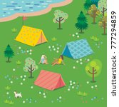 friends rest with tents on the... | Shutterstock .eps vector #777294859