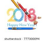 happy new year  inscription in... | Shutterstock .eps vector #777300094