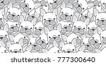 Stock vector dog french bulldog puppy face dog head doodle vector seamless pattern isolated wallpaper 777300640