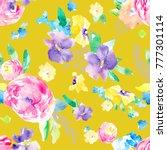 spring watercolor flower... | Shutterstock . vector #777301114