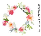 greeting card with watercolor... | Shutterstock . vector #777302689