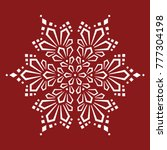 complex large snowflake on red... | Shutterstock .eps vector #777304198