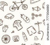hand drawn doodle cycle racing... | Shutterstock .eps vector #777306880